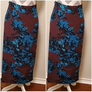 Deep brown and turquoise long pencil skirt